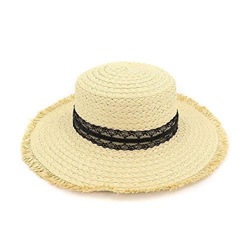 ersonnenschutzstrohhut, Mädchenstrandhut, Wilder Flacher Hut der Mode,beige ()