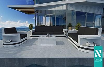 Nativo© Outdoor GartenmÖbel Rattan Designer Lounge Set Atlantis 3+2+1 V2 von NATIVO Deutschland bei Gartenmöbel von Du und Dein Garten
