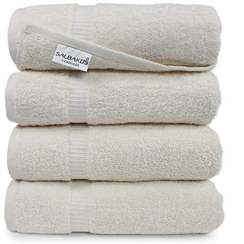 SALBAKOS Handtuchkollektion Cambridge 70cm x 140cm - 4er Set in Creme - Badetücher 100% Baumwolle - 700gr/m² Luxusqualität Cambridge Creme