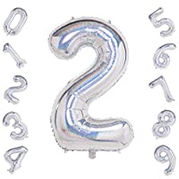 40 Inch Large Laser Silver Number 0-9 Balloons,Foil Helium Digital Balloons for Birthday Anniversary Party Festival Decorations