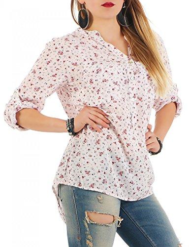 Danaest - Camicia - con bottoni - Floreale - Collo a V  - Maniche a 3/4 -  donna Rosa
