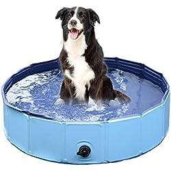 Jasonwell®Piscina de baño plegable para perro mascota, bañera colapsable para perro mascota para perros y gatos (S)