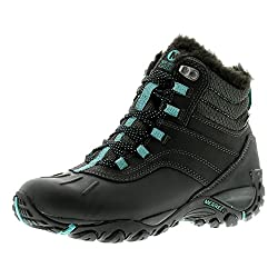merrell atmost mid wp womens leather and textile walking boots black/b - black/blue - uk sizes 3.5-7.5 - 51GB7Q2aiuL - Merrell Atmost Mid Wp Womens Synthetic Material Walking Boots Black/Blue