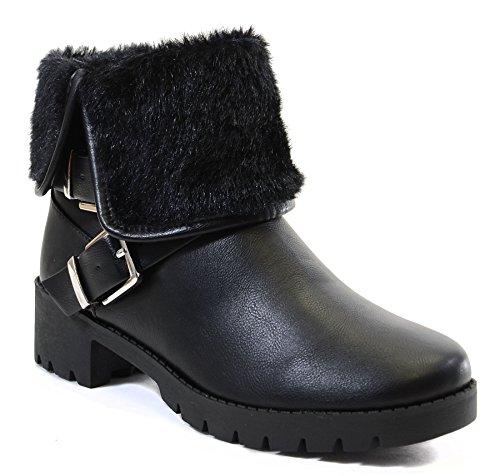 Fourever Funky, Damen Stiefel & Stiefeletten Black Fur