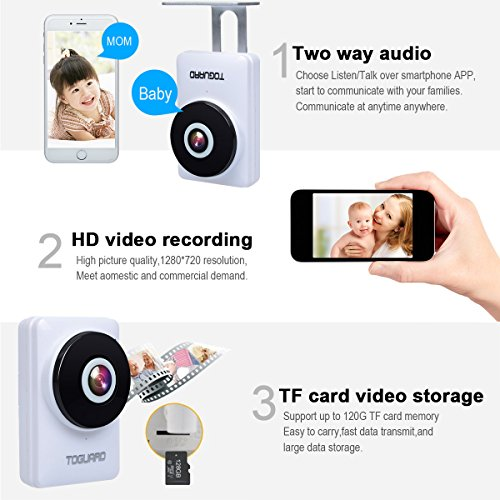 TOGUARD mini HD IP Camera Wifi Video Surveillance Camera dwelling kid Monitor having 185 Panorama View Fisheye Lens Night Vision Real time Intercom Motion Detection far off Monitoring Free 32GB Micro SD Card Dome Cameras