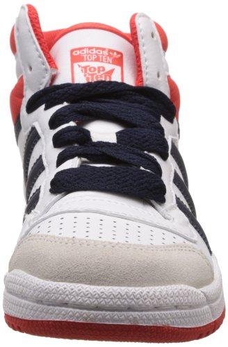 adidas Topten Hi K, Sneaker Unisex – Bambini bianco (Blanc (White/Red/Legend Ink))
