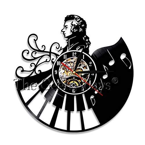 YLNEW Klavier Vinyl Schallplatte Wanduhr Dekoration Retro Wanduhr Musik Musiker Musik Lehrer Pianist Geschenk (Klavier-musik Dem Aus Halloween Film)