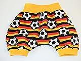 Kurze Pumphose Größe 68/74 Baby Hose Mitwachshose Motiv: Fussball