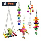 OneBarleycorn - 6 Pack Bird Chewing Toy, Bird Hanging Bell Toy Pet Parrot Hammock Swing for Small Medium Birds