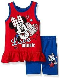Disney Baby Girls 2 Piece Love Minnie Mouse July 4th Americana Bike Short Set