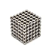 216 PCS 5mm Magic Iron Puzzle Cube Magnetic Balls Puzzle Magnet Block Desk Hunting Ammo, Intelligence develop and Stress Relief, Stress Ball (light silver color)