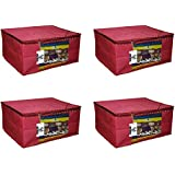 "Virtue Saree Cover Storage Bag Big for Clothes with Zip Organizer for Wardrobe, Set of 4, Non Woven Fabric Cloth 9"" Height Large Design Boxes for Blanket and Blouse, 17 x 14 x 9 Inches (Maroon)"