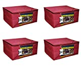 Virtue™ Non Woven Multipurpose Big Saree Cover/Saree Bag/Storage Bag | Set of 4 (Maroon) | Best Quality 100GSM Non Woven Fabric Cloth | 9 inches Height Large Design | 17 x 14 x 9 Inches