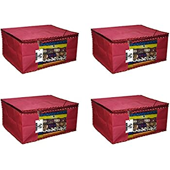 """Virtue Saree Cover Storage Bag Big for Clothes with Zip Organizer for Wardrobe, Set of 4, Non Woven Fabric Cloth 9"""" Height Large Design Boxes for Blanket and Blouse, 17 x 14 x 9 Inches (Maroon)"""