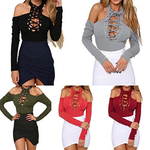 Bigood Bodysuit Sexy Femme Combinaison Coton Top Manche Longue Jumpsuit Epaule Nue Clubwear Vert