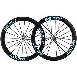 IMUST Aerodin¨¢mica Carretera Bicicleta Carbono Ruedas 56mm Clincher Tubeless Ready Borde Shimano 10/11 Speed Hub 20/24 Agujeros