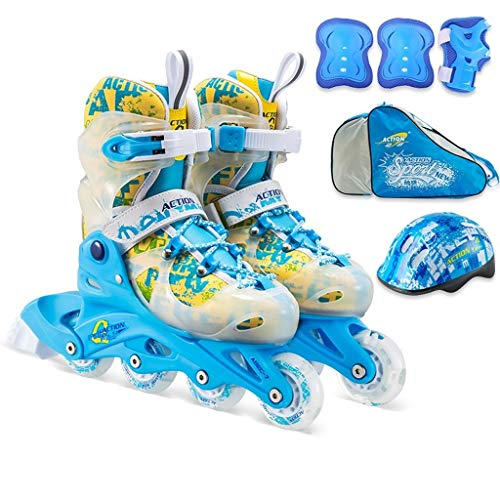 TKW Fun Flashing Kids Inline Skates, Verstellbare Jungen- Und Mädchen-Langlebige Skates, Professionelle Jugendstudenten-Rollschuhe, Blau-Rosa (Color : Blue, Size : S (EU 30-33))