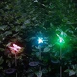 3er Set Solarleuchten Garten Solar Stableuchten Farbwechsel LED Libelle Kolibri Schmetterling Solarlampen für Garten, Balkon und Terrasse von NORDSD
