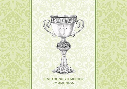 Kommunionskarte Einladung zu meiner Kommunion schöne Einladungskarte zur Kommunion Klappgrußkarte für EIN Mädchen/Junge in Lindgrün (Ornamente) mit Kelch als Zeichnung (Mit Umschlag) (8) - Mädchen Lindgrün