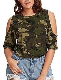 FAMILIZO Camisetas Mujer Sin Hombros Verano Blusa Mujer Elegante Camisetas Camuflaje Mujer Manga Corta Algodón Camisetas