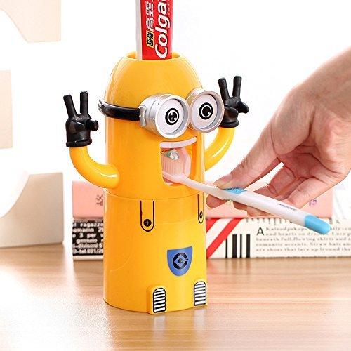 Romote Netter Minions Design Set Cartoon Kleine gelbe Menschen Zahnbürstenhalter automatische Zahnpasta Kinder Frauen Eltern Badezimmer