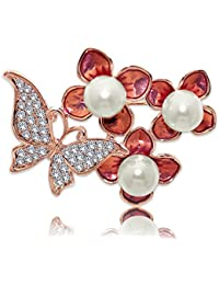 Spargz Party Wear Rose Gold Plated AD Stone With Pearl Butterfly Flowers Brooch Pin For Girls & Women AISAP_086