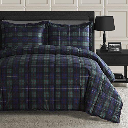 Comfy Bedding 3Stück Plaid Down Alternative Tröster Set, Polyester-Mischgewebe, Navy Blue and Hunter Green, Volle Größe