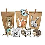 Papierdrachen DIY Adventskalender Waldtiere - Set zum Basteln und selber Befüllen -mit braunen Tüten