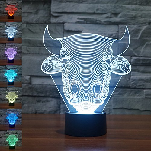 3d Illusion Lamp jawell Night Light Bull 7Changing Colors Touch USB Table...