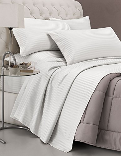 Satin Stripes Bed Linen Set, Doppelt, weiß -
