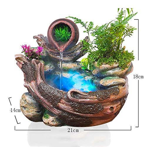 GL-Indoor fountain Fuente de Agua de Escritorio, decoración en Cascada para Interiores con Bomba de Agua