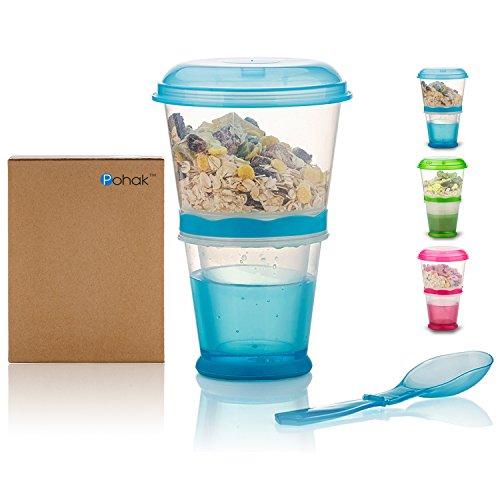 Müsli To Go Becher mit Milch-Kühlfach & Löffel, Müslibecher, Joghurtbehälter, Thermobecher, Müslidose (Blau)