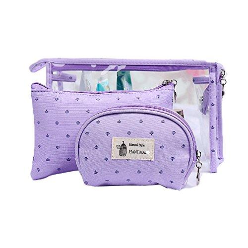 3 Set PVC Reisetasche für Toilettenartikel Handtaschen für Frauen Kosmetiktasche Tasche Make-Up Tasche Kleine Brieftasche Transparent mit Reißverschluss (Lila) -