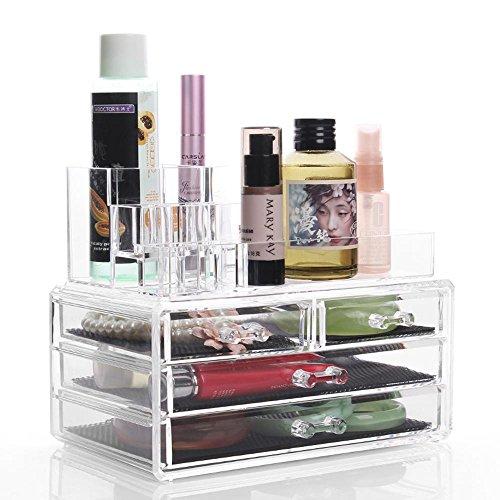 TuTu Boîte de rangement en cosmétique transparente en acrylique Boîte à lèvres Boîte à bijoux en forme de tiroir et boîte de finition (24 * 13,5 * 18,5 cm)