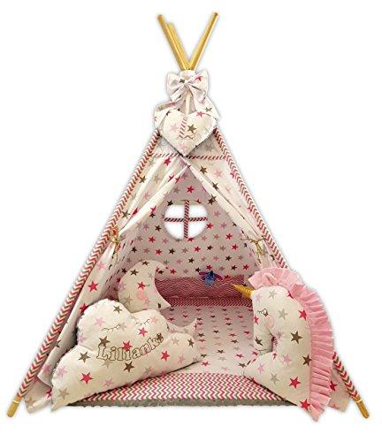 Golden Kids Kinder Spielzelt Teepee Tipi Set für Kinder drinnen draußen Spielzeug Zelt Indianer Indianertipi mit Fenster usw. Tipi mit Zubehör - Einhorn Traum