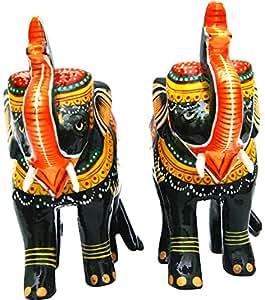 Hand Made Wooden Empire Elephant Showpiece (14 cm x 14 cm x 14 cm)