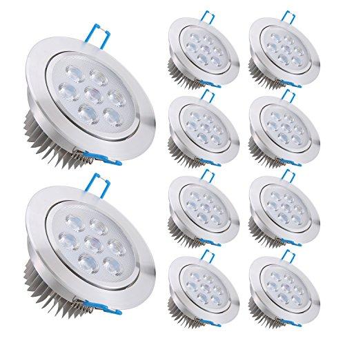 Liqoo Pack de 10 Focos Empotrable LED 7W Transformador Incluido Impermeable Luz de Techo Downlight Projector Blanco Cálido 2800K 660LM AC 85-265V Ángulo de haz 30° Bombilla LED Bajo Consumo Equivalente a Halogeno 50W