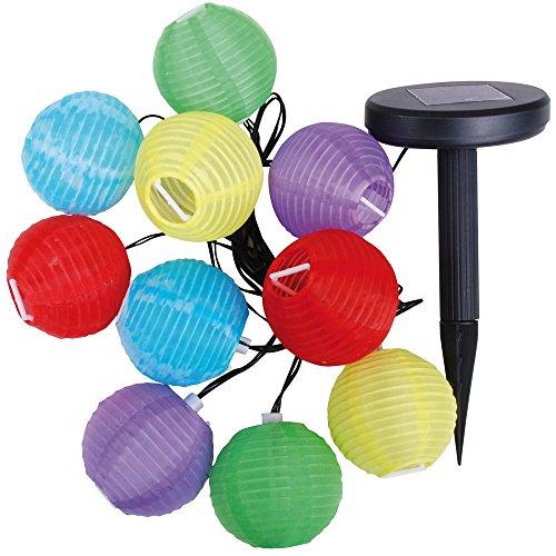 Promobo -Guirlande de 10 LED Blanche Lanternes Chinoises Bornes Solaires