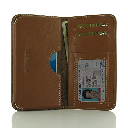 PDAir MEIZU Pro 6s Brieftasche Telefon Hülle (Braun), Brieftasche Echtleder Tasche Kreditkarte Halter, Handarbeit Prämie Kreditkarte Brieftasche Hülle für MEIZU Pro 6s