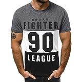 Xmiral T-Shirt Tops Herren Lässig Slim Fit Brief Gedruckt Polyester Kurzarm Hemd 3 Farben Spleiß Sport Oberteile Für Sportfan(M,Dunkelgrau)