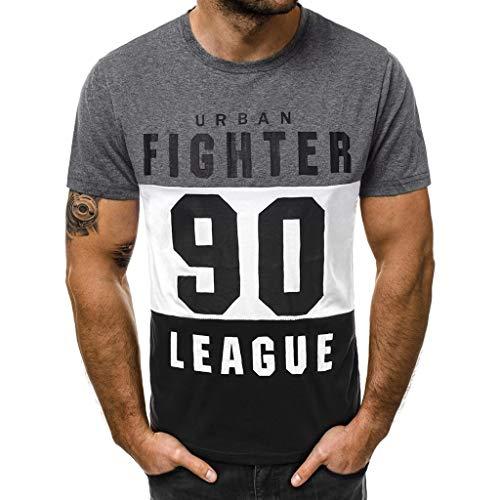 Xmiral T-Shirt Tops Herren Lässig Slim Fit Brief Gedruckt Polyester Kurzarm Hemd 3 Farben Spleiß Sport Oberteile Für Sportfan(2XL,Dunkelgrau)