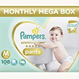 #4: Pampers Premium Care Pants Diapers Monthly Box Pack, Medium, 108 Count