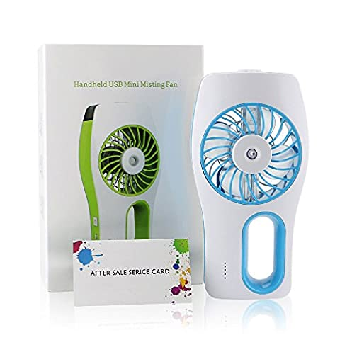 Hebey Personal Portable Mini USB Cooling Replenishment Fan 3 speeds Mini USB Handheld Misting Hydrating replenishment Fan with Cooling Mist Humidifier Oil Diffuser and Built-in 2000mAh Rechargeable Battery Water Spray Fan for Beauty Home Hot Summer Home Office Outdoor Travel (Blue)