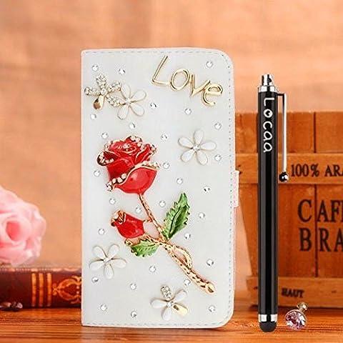 Locaa(TM) For Lenovo Vibe S1 3D Bling Case Funda 3 IN 1 Accesorios Funda Cover Cas Shell Caso Alta Calidad Piel Cuero Para Bumper Protector Phone [General 1] - Red Rosa