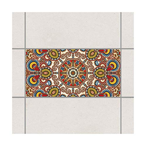 Apalis Fliesen Aufkleber–Farbige Mandala 30cm x 60cm, Set Größe: 4Stück