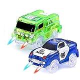 CODOMOXO  Voitures Lumineuses pour Magic Tracks Le Circuit Flexible et Lumineux ,Voiture de Pompier Lumineux et Lumiere Police Voiture (Vert+Bleu)