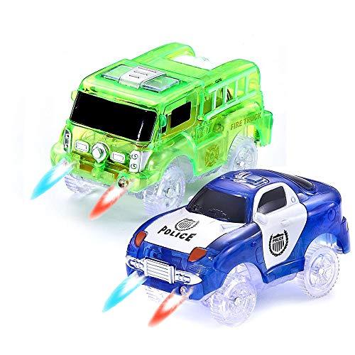 CODOMOXO ® Voitures Lumineuses pour Magic Tracks Le Circuit Flexible et Lumineux ,Voiture de Pompier Lumineux et Lumiere Police Voiture (Vert+Bleu)