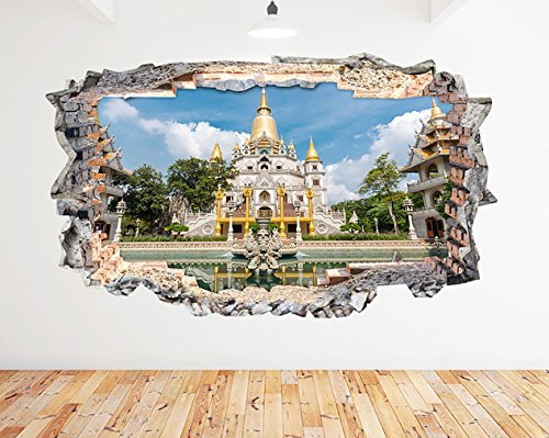 N618District HO-Chi-Minh-Vietnam zerstörten Wand Aufkleber 3D Kunst Aufkleber Vinyl Zimmer (groß (90x 52cm)) (Vietnam 3d)