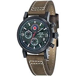 AVI-8 AV-4041-04 - Reloj cronógrafo de cuarzo para hombre con esfera analógica verde y correa de cuero marrón