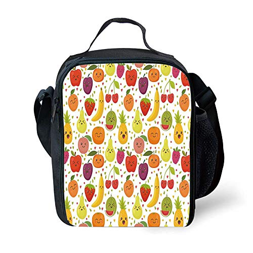 MLNHY School Supplies Fruits,Smiling Banana Funny Mulberry Happy Apricot Peach Hearts Lemons Kids Nursery Theme,Multicolor for Girls or Boys Washable